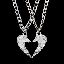 51eba0a94f6c 2 piezas Lobo collares hacer un corazón parejas COLLAR COLGANTE moneda  joyería para los amantes animales regalo para los amigos