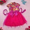 2016 la primavera y el otoño invierno de algodón vestido de bebé de La Princesa muchachas del vestido niños del funcionamiento guzheng cheongsam juego de La Espiga vestido