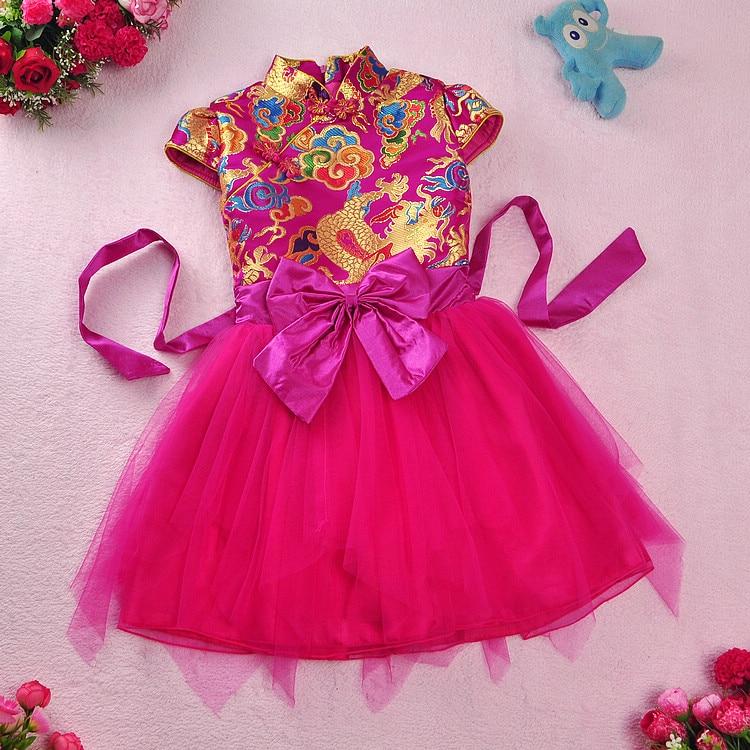 ФОТО 2016 spring and autumn winter cotton children's dress girls guzheng performance cheongsam dress  baby Princess Tang suit dress