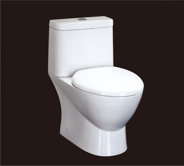 2016 new style water closet one piece S-trap ceramic toilets with PVC Adaptor and soft close seat cover AST346 CE UPC cerificate