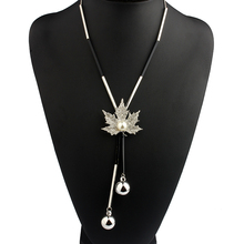 Long Black & Gold Or Silver Necklace With Maple Leaf Pendant