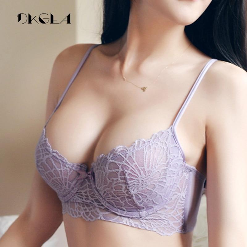 New Sexy Lingerie Set Transparent Brassiere White Lace Bra Set Women Ultrathin Underwear Purple See Through Bra 36 38 B C D Cup 1