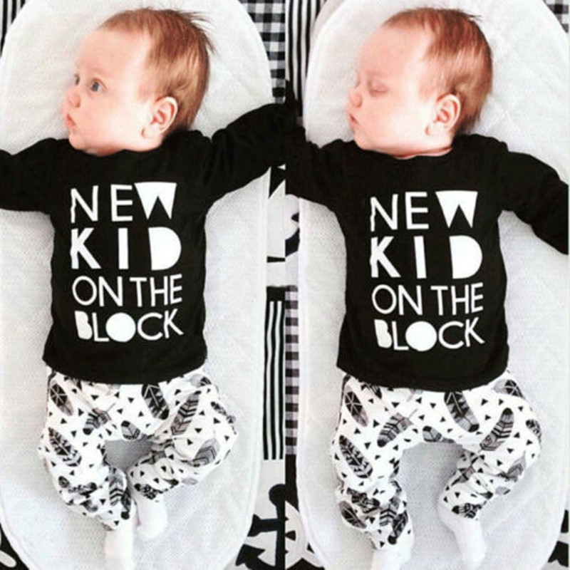 Newborn Baby Boys Girls Kids Casual Long Full Sleeve Letter Printed T-shirt Tops+Long Feather pattern Pants Outfit Clothes Set K