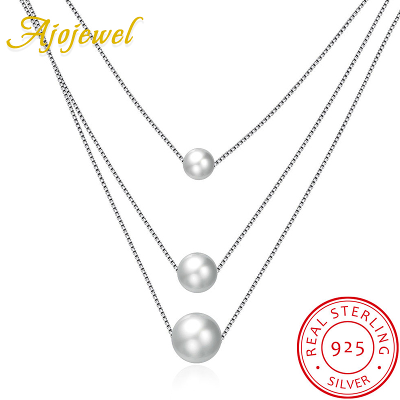 Ajojewel Fashion 3 Layer Necklace Silver 925 Shell Pearl Pendant Necklace Women Fine Jewelry For Party Wedding Anniversary