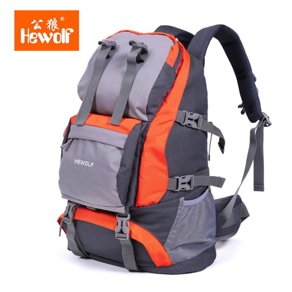 Hewolf Men Women Outdoor Huge Capacity 32L Travelling Hiking Male And Female Bag Waterproof Orange/Red Leisure Sports Knapsack