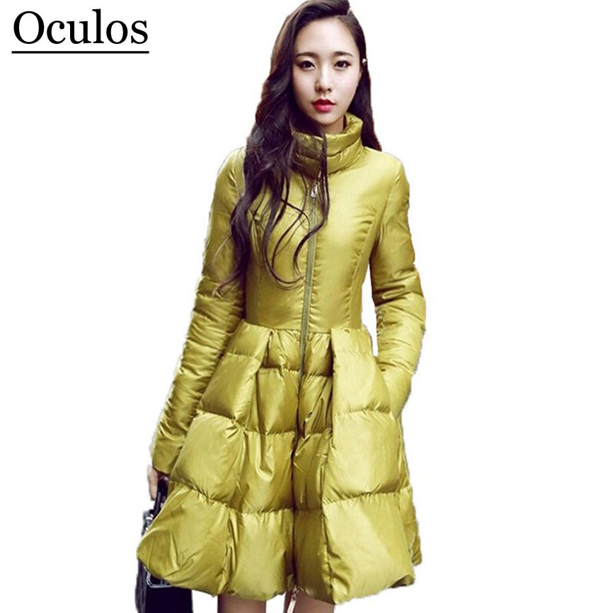 2017 New Fashion Women Winter Down Jackets Warm Long Slim ...