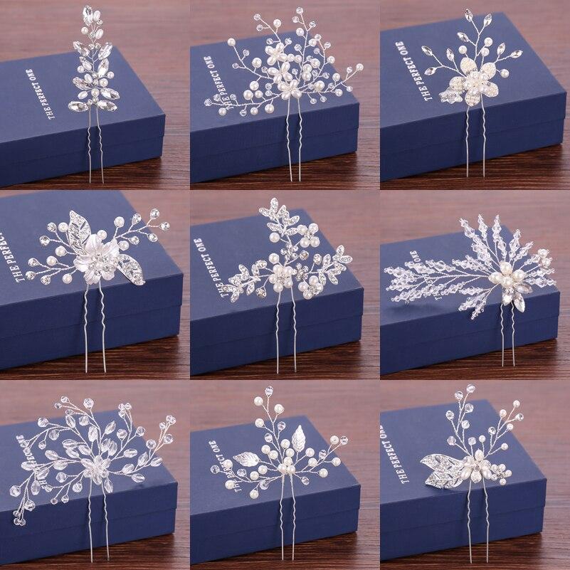 Women Hairpins Wedding Hair Pins Bridal Hair Accessories Pearl Crystal Silver Hairpin Bridal Head Ornaments Wedding Hair Jewelry