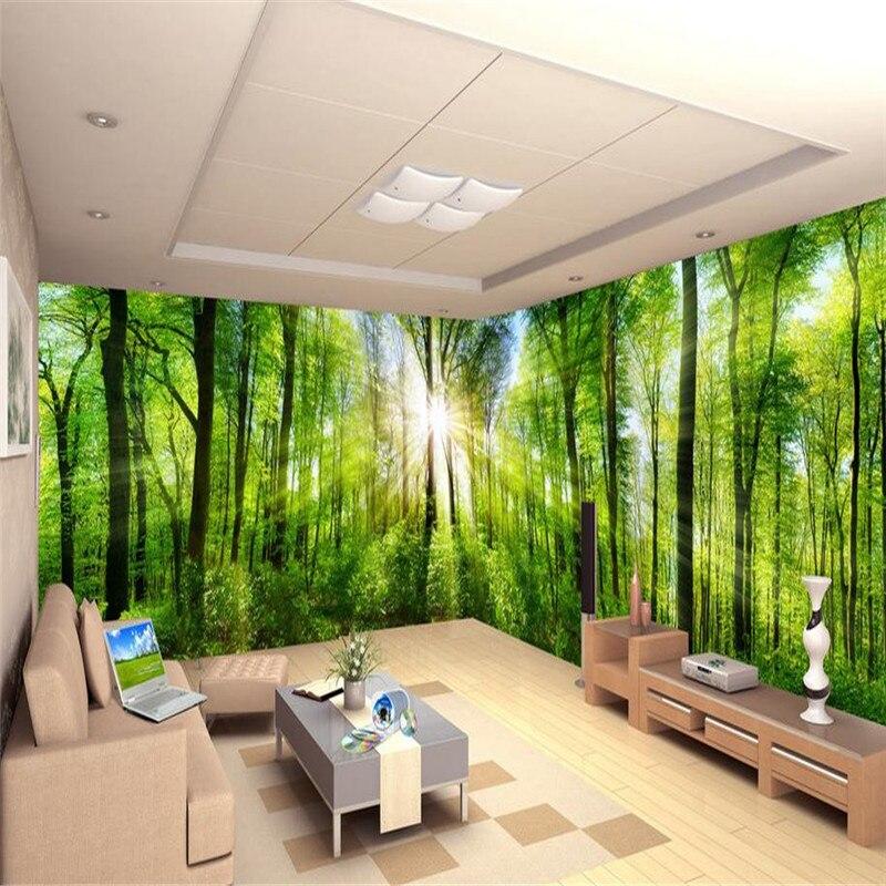 3D современные пользовательские высокое качество фото обои свежий природа пейзаж в помещении настенная первобытном лесу солнечного света о...