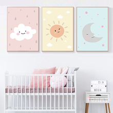 Colorful Cartoon Kids Decorative Posters Prints Cute Sun Moon Clouds Canvas Painting Creative Wall Art Pictures For Children