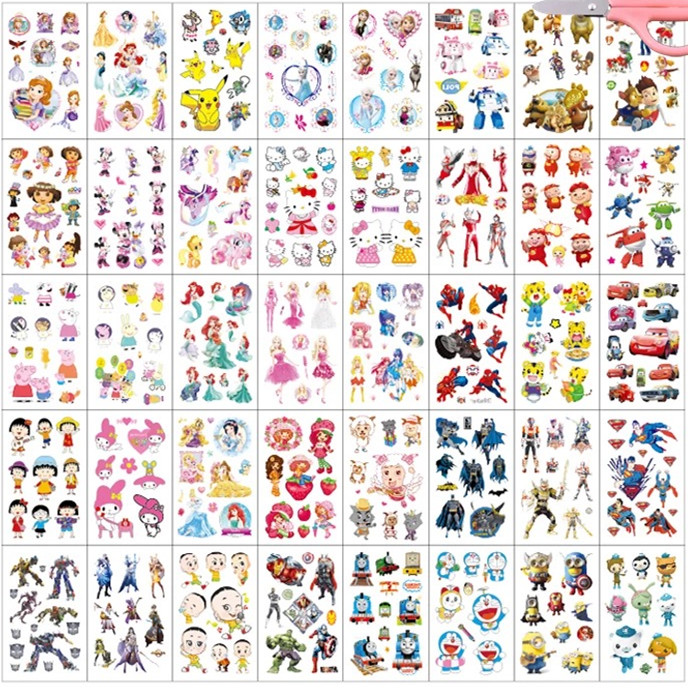 40pcs/set Waterproof Temporary Tattoo Body Art Cute Carton Pattern Print Beauty For Kids Women Fake Tattoo