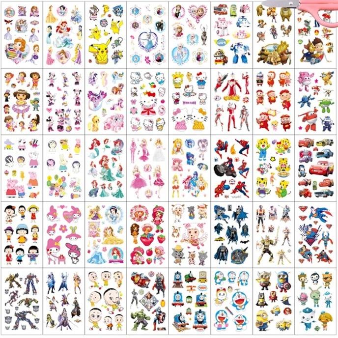 40pcs/set Waterproof Temporary Tattoo Body Art Cute Carton Pattern Print Beauty For Kids Women Fake Tattoo