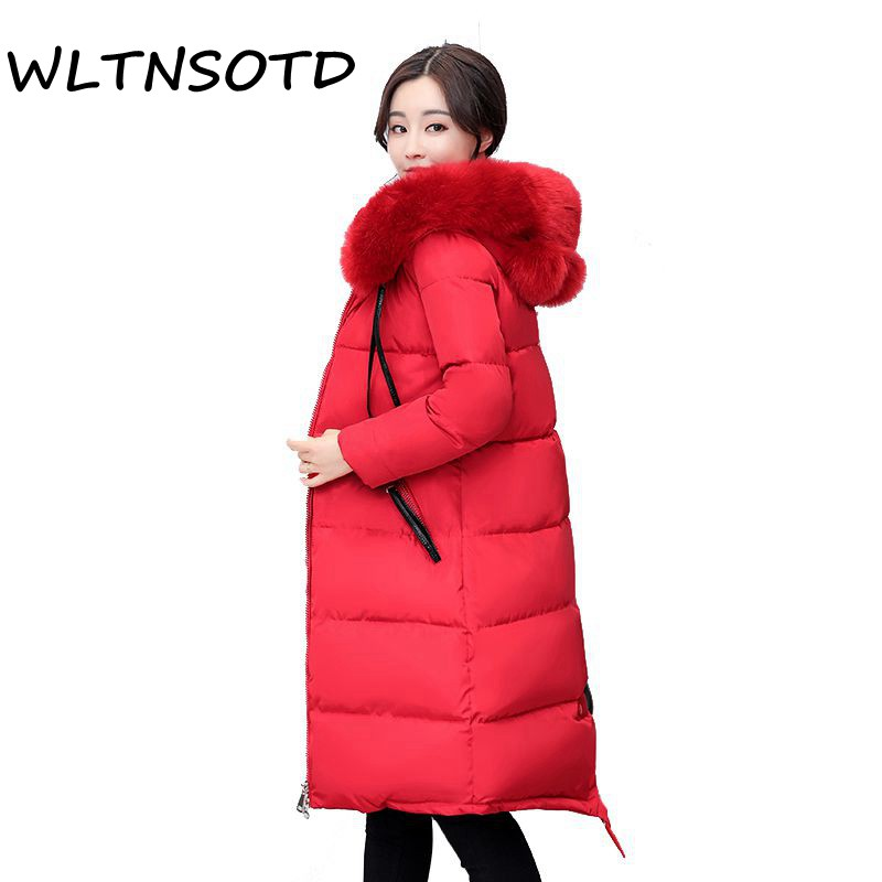 Winter 2017 Women new Large Fur Hooded Warm cotton Jacket female Bread long zipper solid slim thicker parkas coat 2017 new winter coat for women slim black solid hooded long warm cotton parkas female thicker zipper red jacket padded