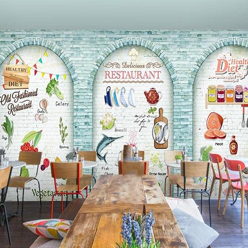 Online get cheap graffiti restaurant for Cafe wall mural