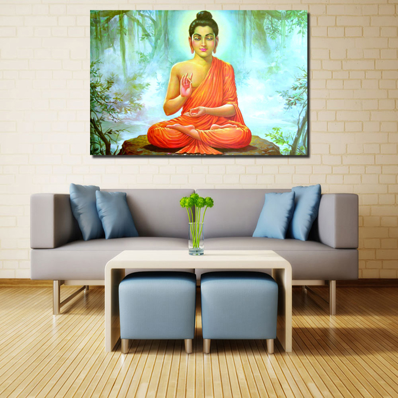 Teaching Buddha Wallpaper Wallpaper Minimalist Art Canvas Poster Painting Wall Pictures Prints Modern Home Bedroom Decor Artwork in Painting Calligraphy from Home Garden