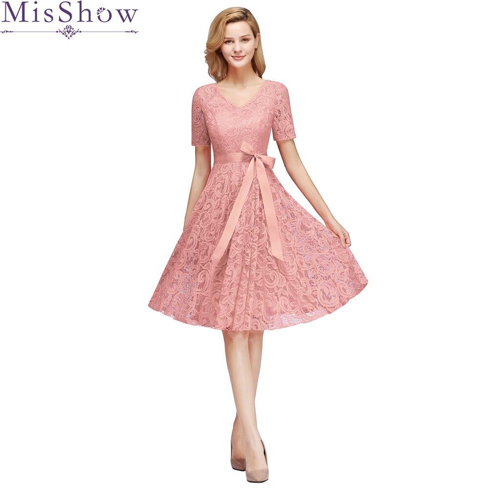 Robe demoiselle d'honneur 2019 new Short Sleeve A Line beautiful Elegant Dust Pink   bridesmaid     dresses   short plus size cheap