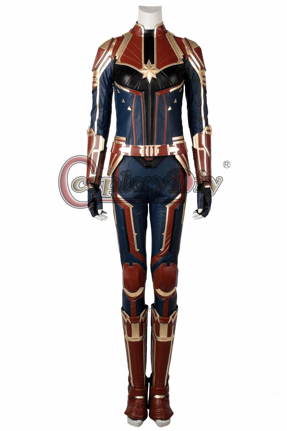 Cosplaydiy Captain Marvel Cosplay Ms Marvel Carol Danvers Costume Jumpsuit Outfit Halloween Adult Women Full Set Brie larson in captain marvel. sistastore