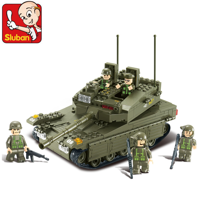 SLUBAN M38-B0305 344pcs 3D construction eductional plastic Building Blocks Sets Military Army Makava Tank toys Christmas Gifts 1000pcs non insulated ring terminals rnbl 1 25 4
