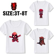 Deadpool Superhero Marvel Kinder Gedruckt Baumwolle OANSATZ Kurzarm T-Shirt Kunst Design Casual Kinder Kurzen Ärmeln A19525(China)