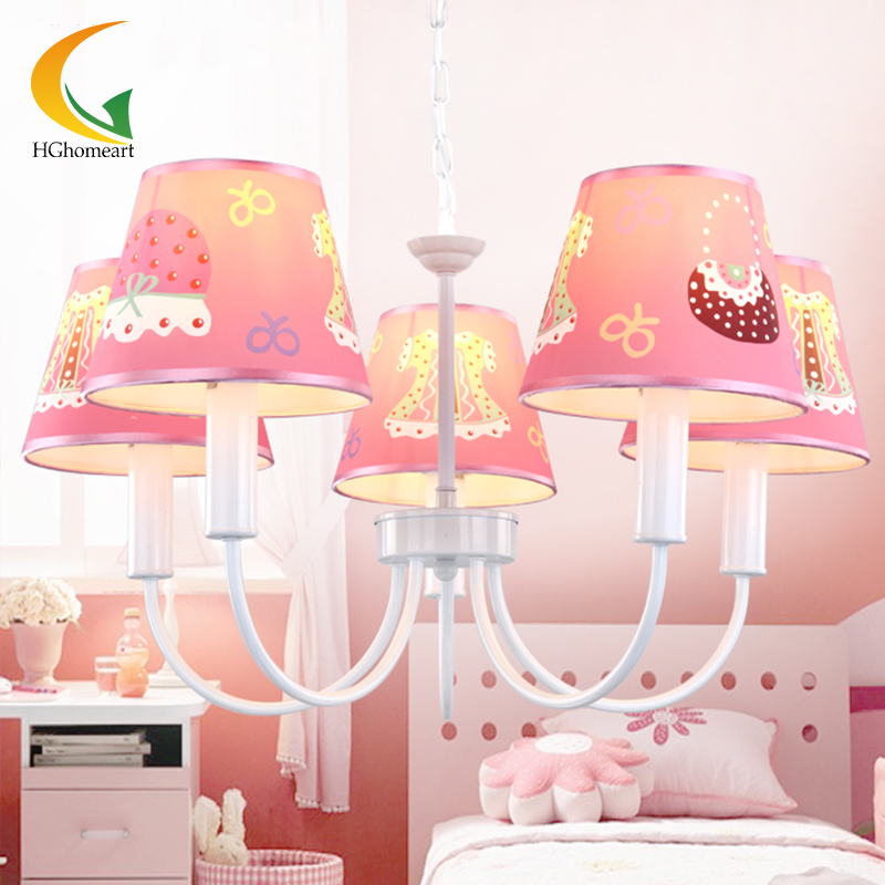 Children chandelier lamp Pastoral cute cartoon girl child bedroom pink children's room LED chandelier