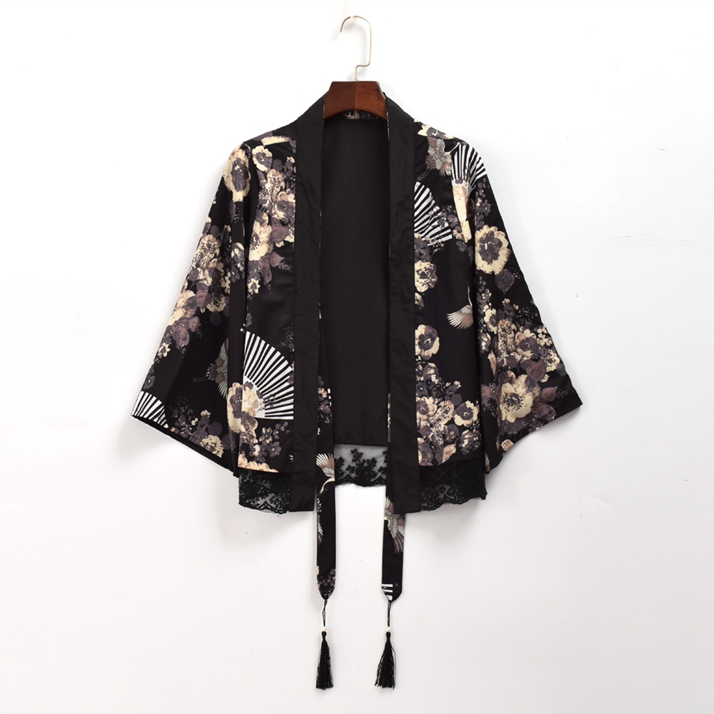 Women Vintage Japanese Black Chiffon   Trench   Crane Fan Print Short/Long Cardigan Outwear