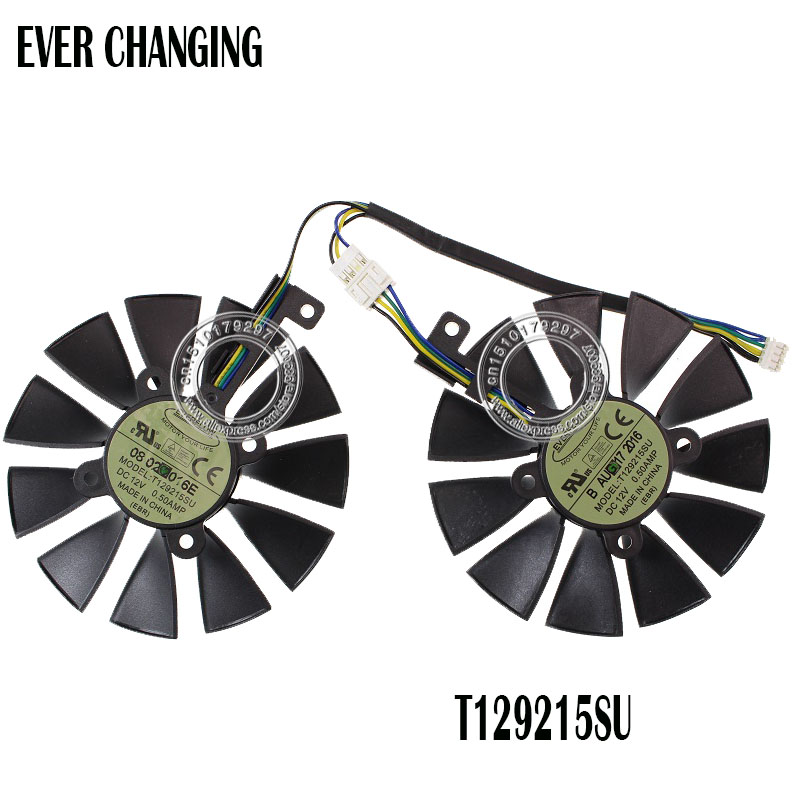 87MM Cooler Fan For ASUS GTX1060 1070 Ti RX 470 570 580 Graphics Card Everflow T129215SU PLD09210S12HH 28mm Cooling Fans image