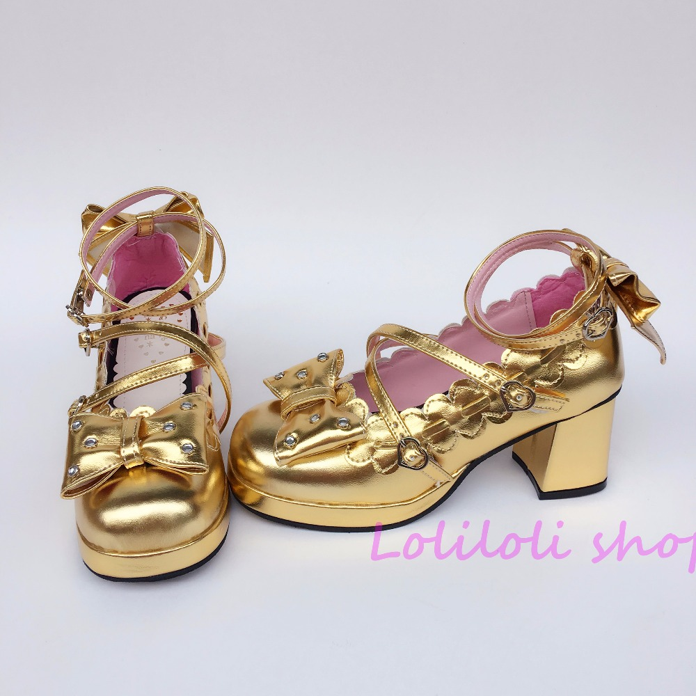 Princess sweet lolita shoes Japanese design customized special shaped Golden with bow tie high heel 1123 lolita frilled pleated bell sleeve bow tie chiffon blouse