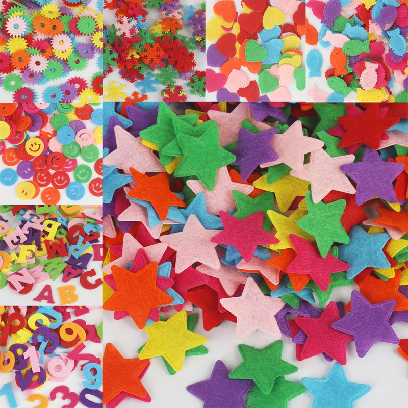 50-100pcs Pick Size Smile Face/Tree/Hand/Butterfly/Crown Felt fabric Pads Accessory Patches ...
