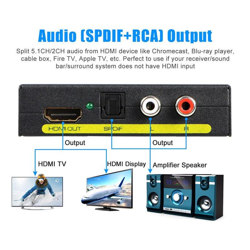 HD 1080P HDMI к HDMI Оптический SPDIF RCA L/R экстрактор конвертер аудио сплиттер Hdmi конвертер адаптер для PS3 компьютера HDTV