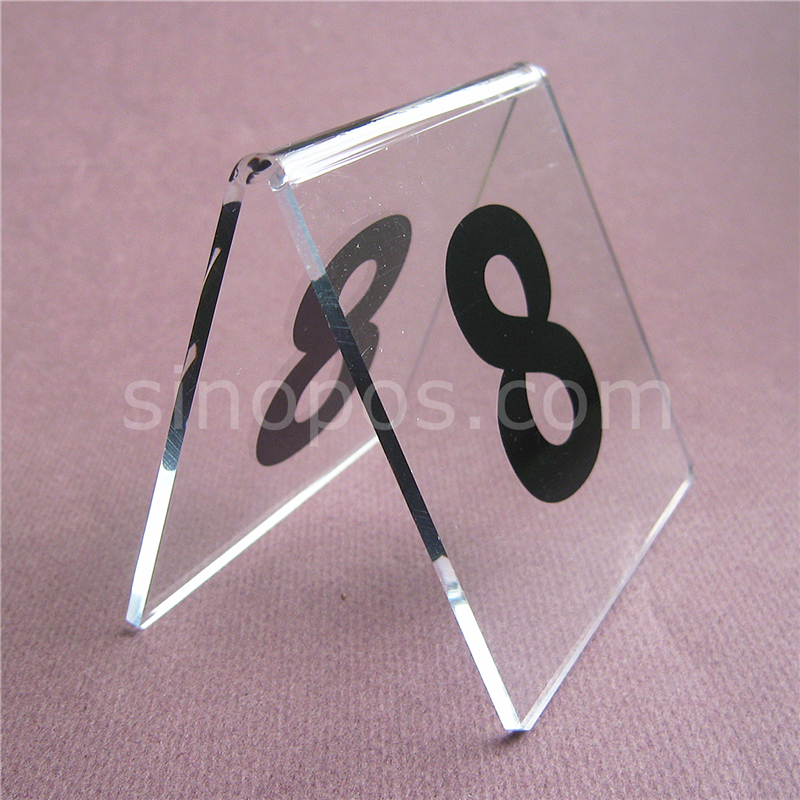 Acrylic Table Number Signs 1-60, desk top clear plastic glass codes card plate tag display stand restaurant hotel bar wedding kreg corner clamp