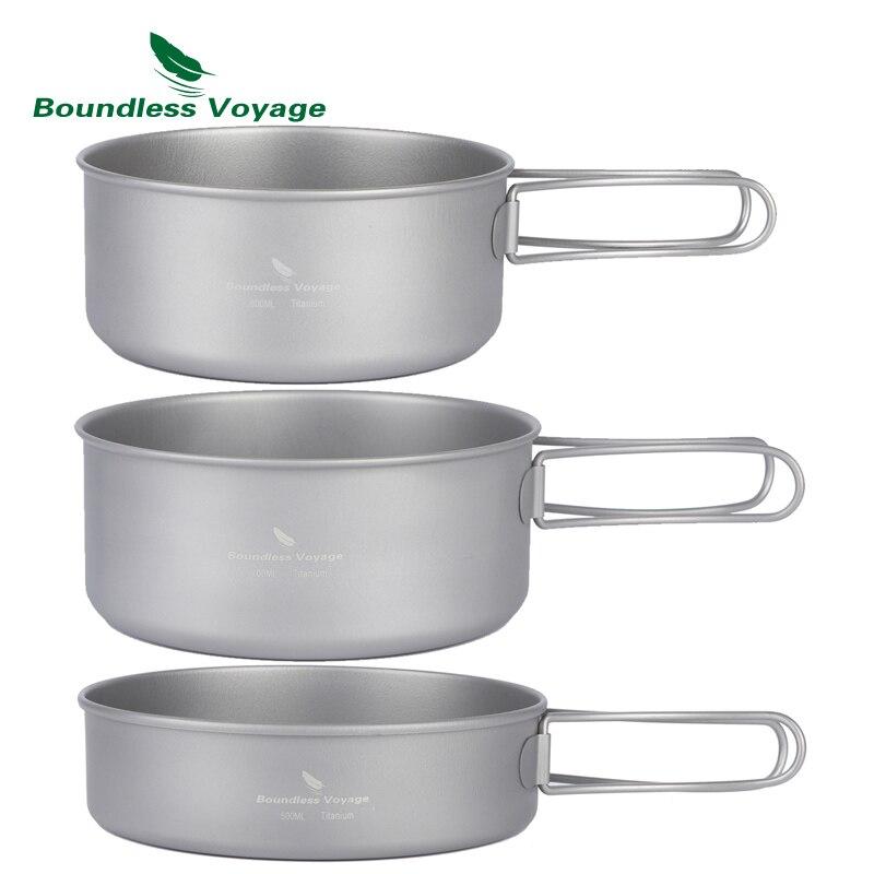 Boundless Voyage Outdoor Ultralight 3pcs Titanium Pot Pan Set Plate Dish Cookware Tableware Dinnerware Set стоимость