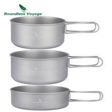 Boundless Voyage Outdoor Ultralight 3pcs Titanium Pot Pan Set Plate Dish Cookware Tableware Dinnerware