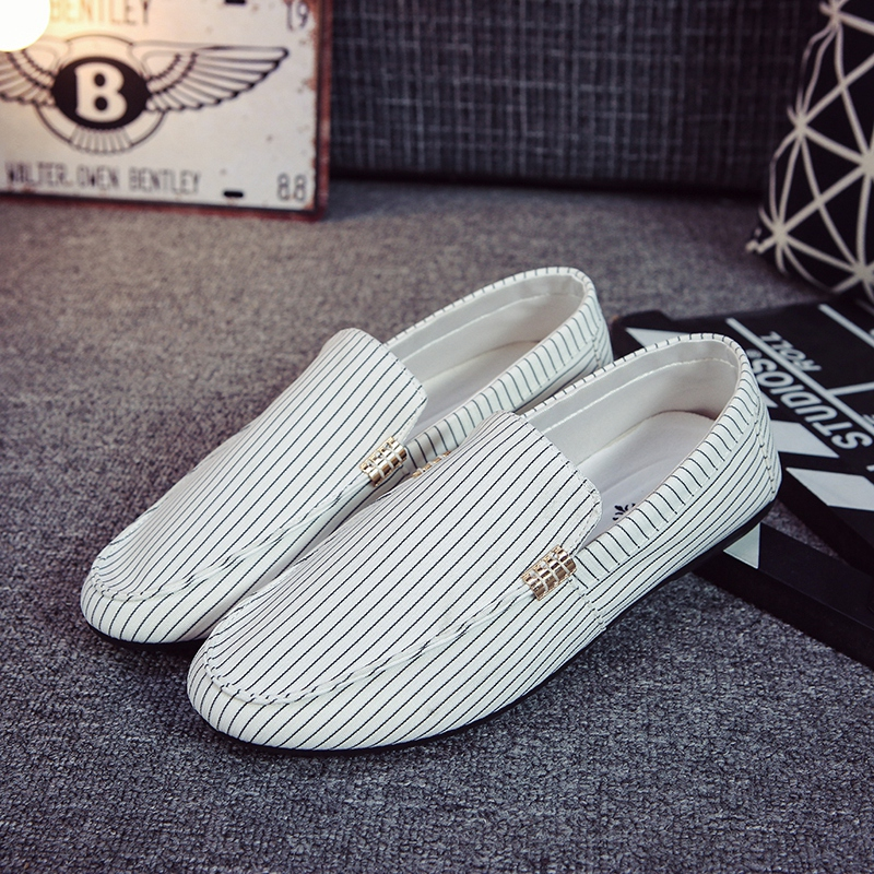 ARANSUE male canvas boat shoes slip on dong shoe fashion light loafers striped casual shoes for men flats