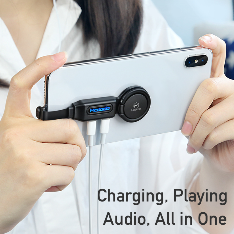 MCDODO Converter Ring-Holder Headphone Splitter Audio-Adapter-Charger Led-Display-Connector