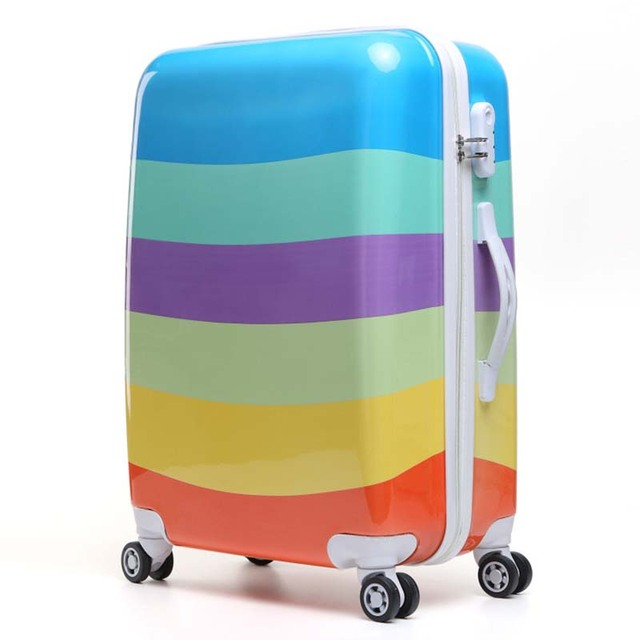 Letrend Color Stripe Pattern Rolling Luggage Spinner 24 Inch