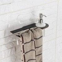 AUSWIND Bathroom Liquid Soap Dispenser Black Stainless Steel Dispenser Holder For Towel Ring Holder In Bathroom