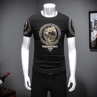 2017 여름 티셔츠 남성 패션 중국 스타일의 인쇄 남성 캐주얼 T 셔츠 짧은 소매 슬림 맞춤 티 셔츠 옴므 블랙/화이트 4XL-M