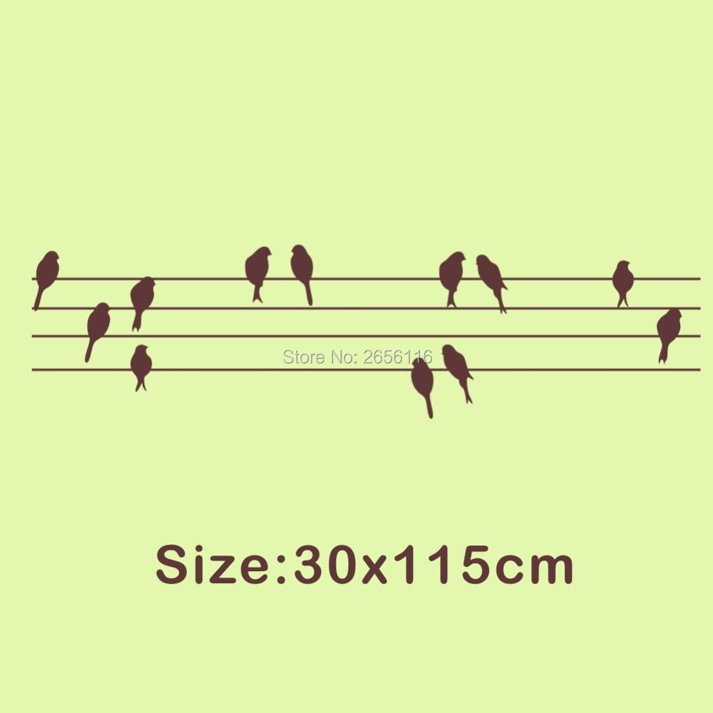 Decorative Art Wall Sticker Birds Standing on Electric Wire Wall ...