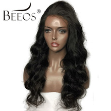 BEEOS 150 Density 14″-24″ Full Lace Human Hair Wigs For Black Women With Baby Hair Brazilian Remy Hair Pre Plucked Lace Wig
