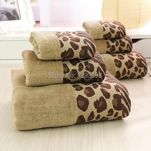 hot sale 3pcs lot towel set sexy leopard printing 100 cotton handkerchief face cloth bath. Black Bedroom Furniture Sets. Home Design Ideas