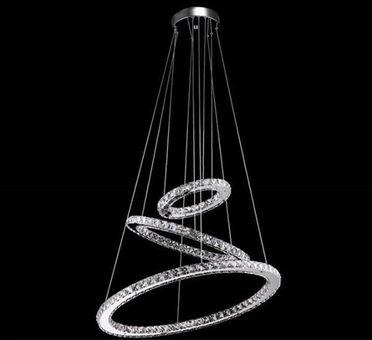 Led 3 Ring Chandelier: Modern Lamp 3 Ring LED Double Round Crystal Chandelier