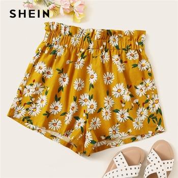 SHEIN Bohemian Ginger Frilled Trim Elastic Waist Floral Print Shorts Women Summer High Waist Beach Style Casual Shorts