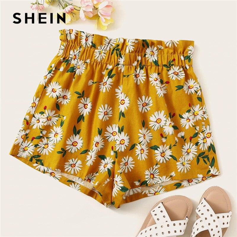 655386c9d SHEIN Bohemian Ginger Frilled Trim Elastic Waist Floral Print Shorts Women  Summer High Waist Beach Style