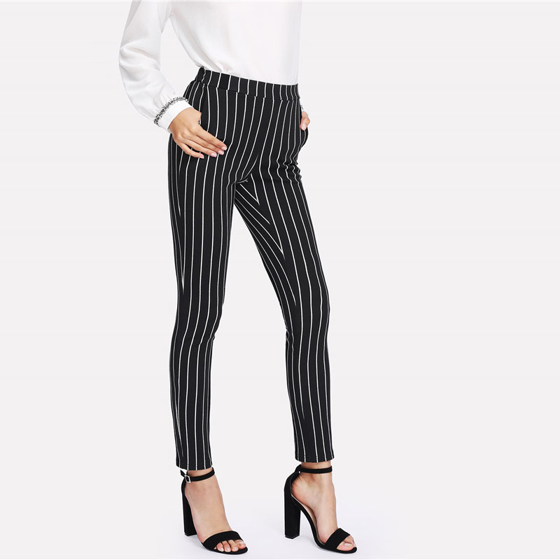 SHEIN Vertical Striped Skinny Pants Women Elastic Waist Pocket OL Style Work Trousers 18 Spring Mid Waist Long Pencil Pants 13