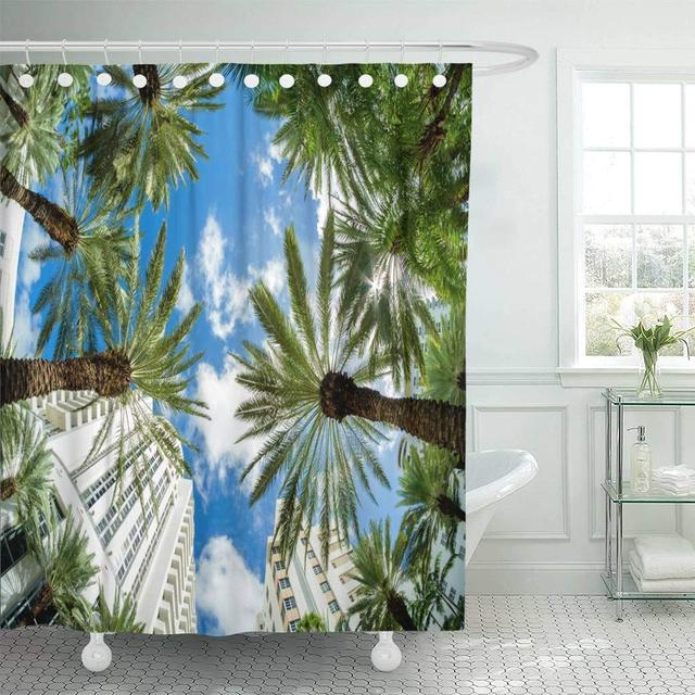 Fabric Shower Curtain Blue Beautiful Miami Beach Fish Eye Cityscape With Architecture And Palm Trees Colorful Bathroom Curtains