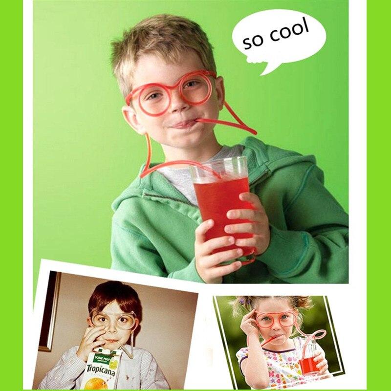 Birthday Party Decorations Kids Funny Soft Drinking Straw Eye Glasses Novelty Toy Party Birthday Gift Child Adult DIY Straws