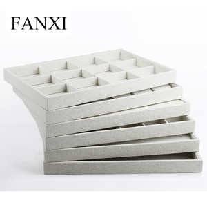 FANXI Free Shipping Wooden Jewelry Packing Tray with Linen for Jewellery Shop Counter and Window Beige Linen Ring Trays