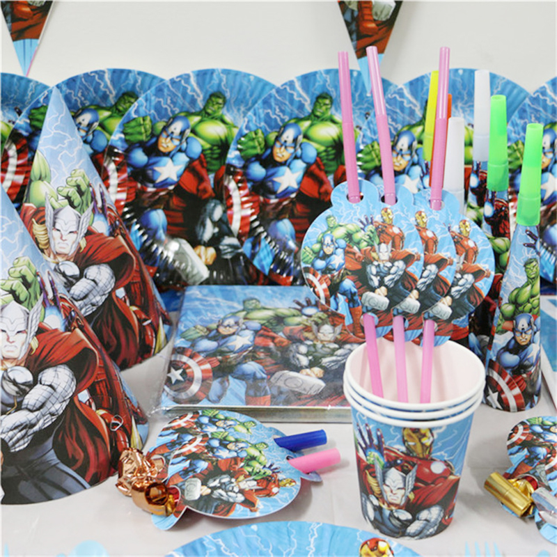 145pcs/lot The Avengers Kids Party Favors Birthday Disposable Tableware Sets Children Birthday Party Kids Party Supplies