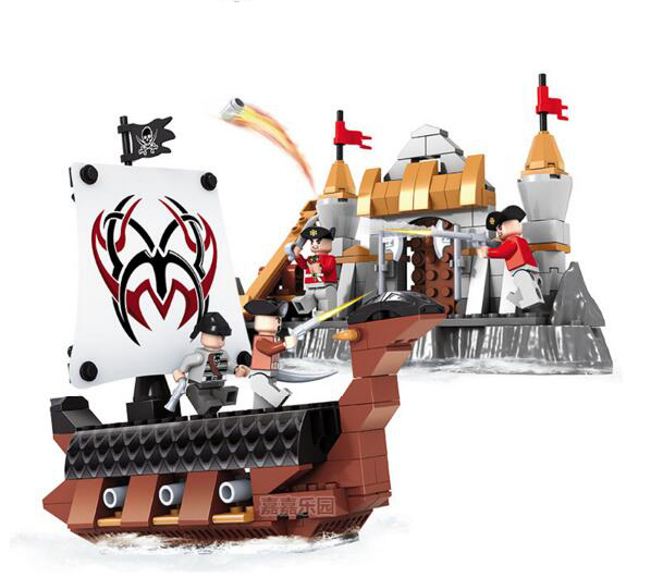 Ausini Model building kits compatible with lego city Pirate City gate 172 3D blocks Educational toys hobbies for children lepin 22001 pirate ship imperial warships model building block briks toys gift 1717pcs compatible legoed 10210