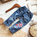 Free shipping Retail new 2013 spring autumn baby clothing kids jeans are children's trousers single girls denim casual pants