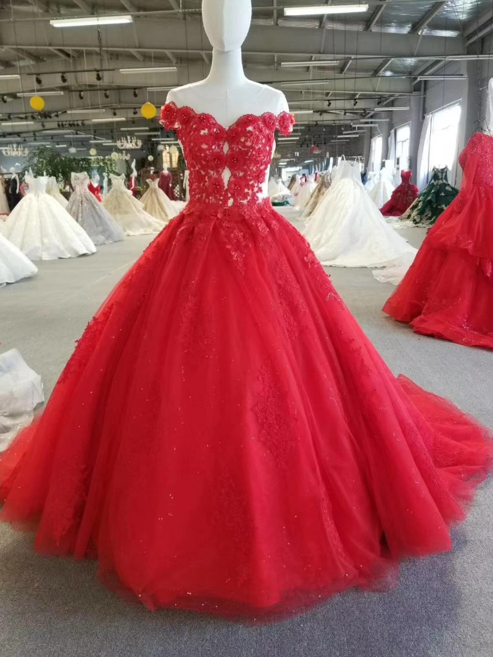 New Fashion Red Ball Gown Prom Dress 2018 Saudi Arbaic Modern Design ...